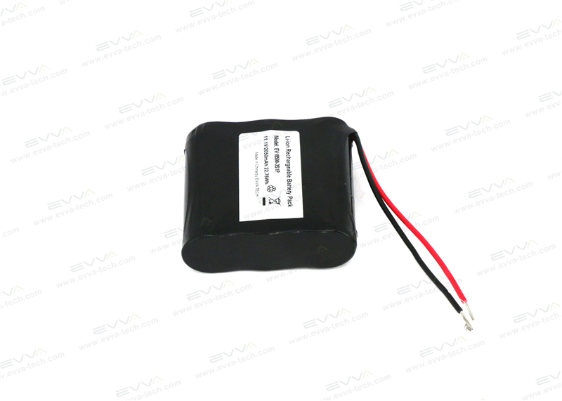 18500 3S1P 11.1V Li-ion Rechargeable Battery Wires Out 2050mAh