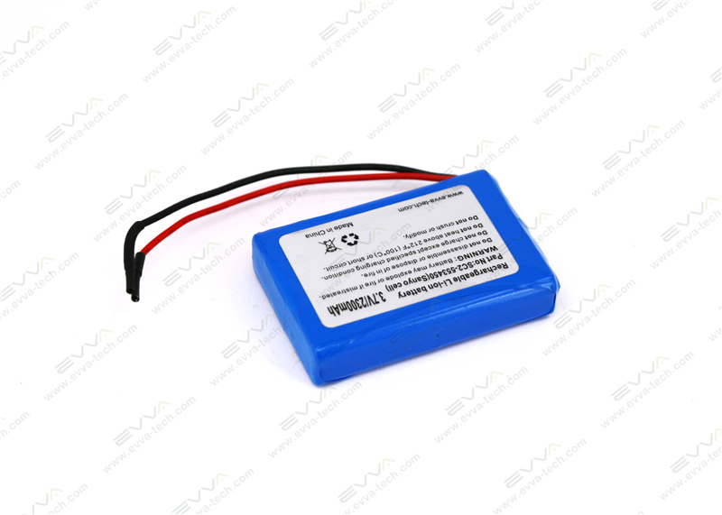 3.7V 2300mAh 553450 1S2P Li-ion Rechargeable Battery with PCM